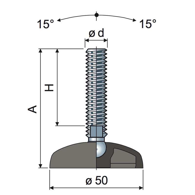piedino regolabile base 50